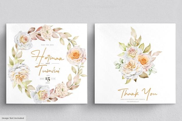 Aquarel bloemen bruiloft uitnodiging kaartsjabloon Premium Vector
