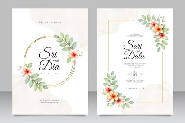 Aquarel bloemen bruiloft uitnodiging set sjabloon met gouden frame