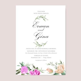 Aquarel bloemen bruiloft uitnodiging sjabloon kaart