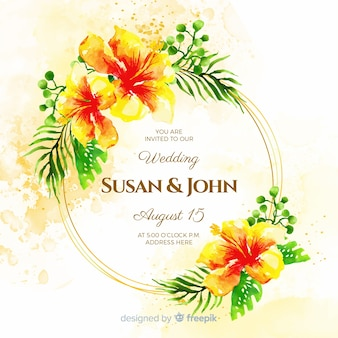 Aquarel bloemen bruiloft uitnodiging sjabloon