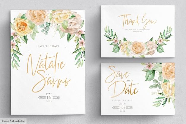Aquarel bloemen bruiloft uitnodigingskaart