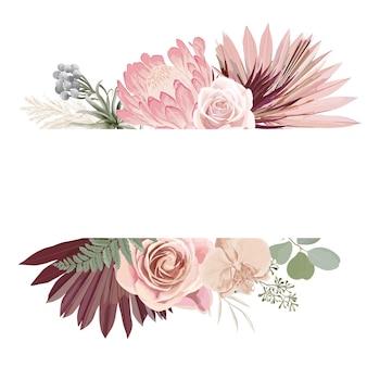 Aquarel bloemen bruiloft vector frame. pampagras, protea, orchideebloemen, droge palmbladeren grenssjabloon voor huwelijksceremonie, minimale uitnodigingskaart, decoratieve boho zomerbanner