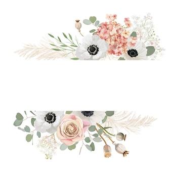 Aquarel bloemen bruiloft vector frame. pampas gras, anemoon, roze bloemen grens sjabloon voor huwelijksceremonie. minimale lenteuitnodigingskaart, decoratieve boho zomerbanner