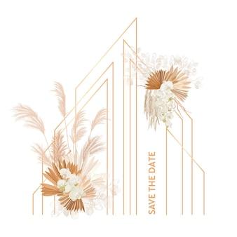 Aquarel bloemen bruiloft vector frame. pampasgras, orchideebloemen, droge palmbladeren grenssjabloon voor huwelijksceremonie, minimale uitnodigingskaart, decoratieve boho zomerbanner