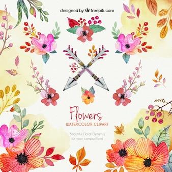 Aquarel bloemen clipart