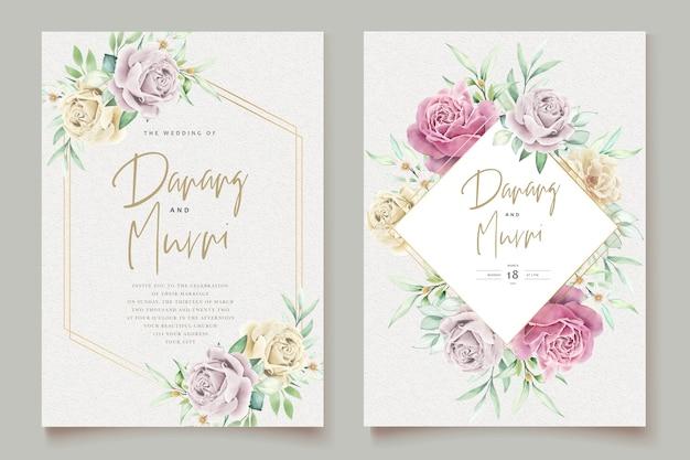 Aquarel bloemen element bruiloft kaartenset