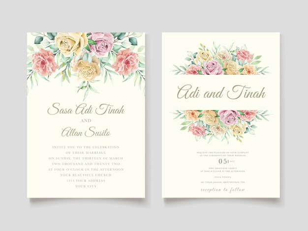 Aquarel bloemen en bladeren bruiloft uitnodiging kaartenset