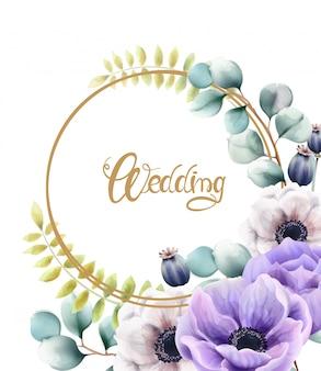 Aquarel bloemen en bladeren bruiloft wenskaart