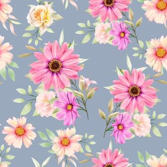 Aquarel bloemen en bladeren naadloos patroon