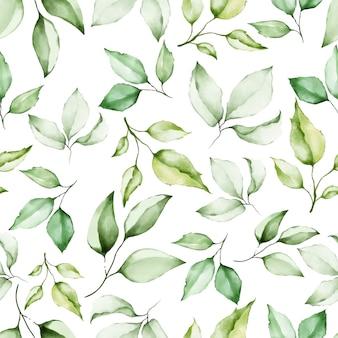 Aquarel bloemen en bladeren naadloze patroon