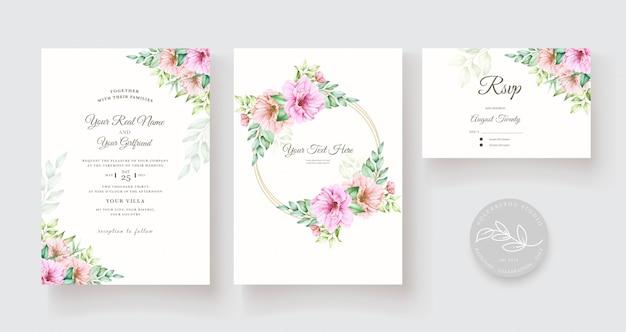 Aquarel bloemen en bladeren uitnodigingskaartenset