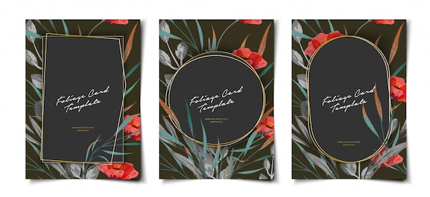 Aquarel bloemen en goud frame folder set