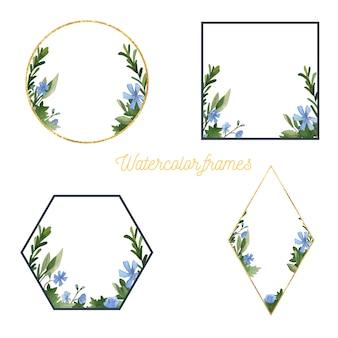 Aquarel bloemen en groen frames-collectie. handgetekende elementen.