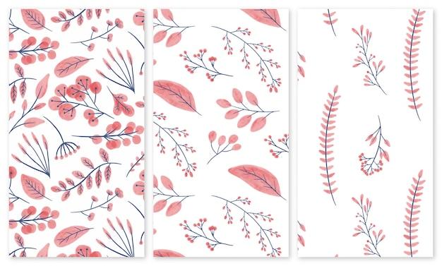 Aquarel bloemen en groen naadloze patronen instellen