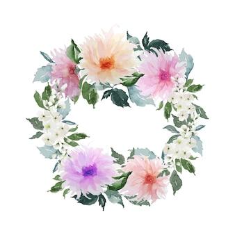 Aquarel bloemen en groene bladeren cirkel krans