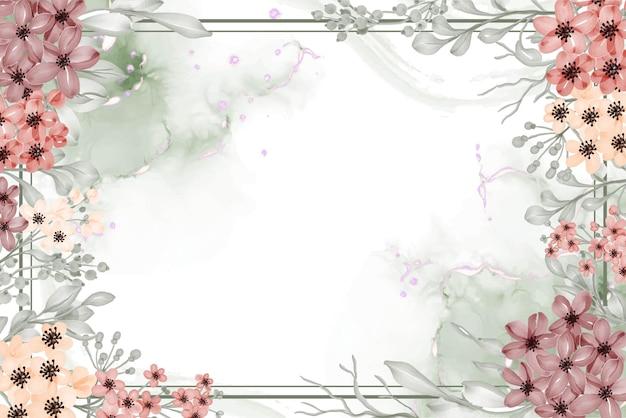 Aquarel bloemen frame achtergrond van bloem klein met witruimte