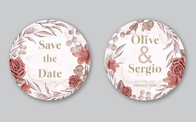 Aquarel bloemen frame bloesem bruiloft uitnodigingskaart