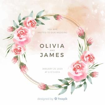 Aquarel bloemen frame bruiloft uitnodiging