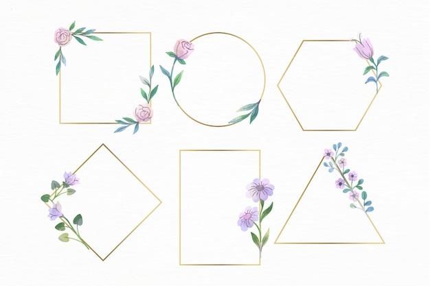 Aquarel bloemen frame-collectie