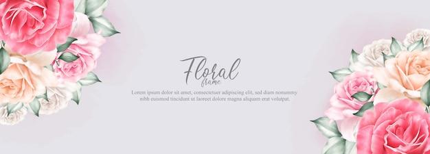 Aquarel bloemen frame en sjabloon voor spandoek