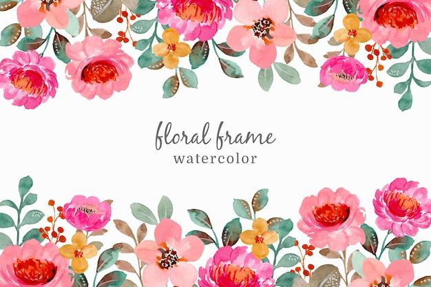 Aquarel bloemen frame. hand getekend roze bloemen achtergrond