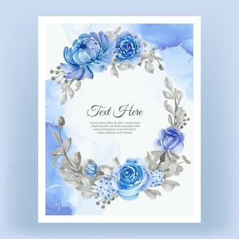 Aquarel bloemen frame krans bloem blauw