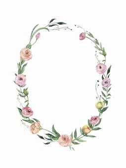 Aquarel bloemen frame met bloemen en bladeren.