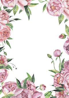 Aquarel bloemen frame met bloemen Premium Vector