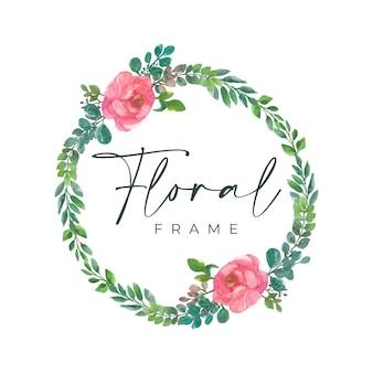 Aquarel bloemen frame met cirkelvormige rand