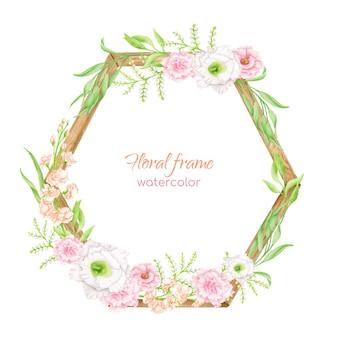 Aquarel bloemen frame met houten zeshoek. handgetekend geometrisch bloemstuk met groen en blozende bloemen