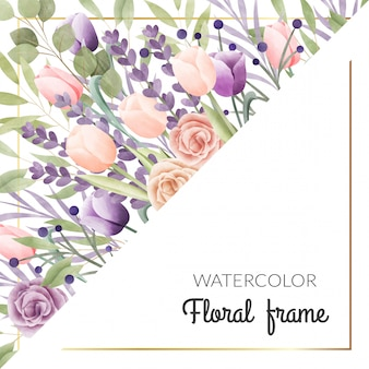 Aquarel bloemen frame. multifunctionele achtergrond.