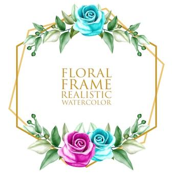 Aquarel bloemen frame ornament