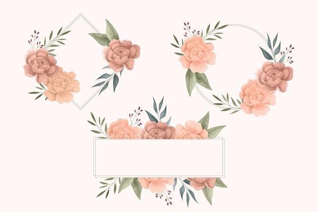 Aquarel bloemen frame pack