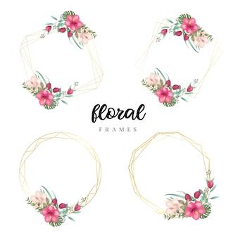 Aquarel bloemen frame sjablonen