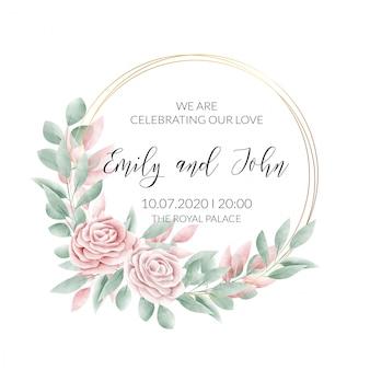 Aquarel bloemen frame uitnodigingskaart