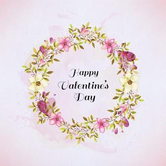 Aquarel bloemen frame. valentijnsdag kaart met geschilderde bloemen frame