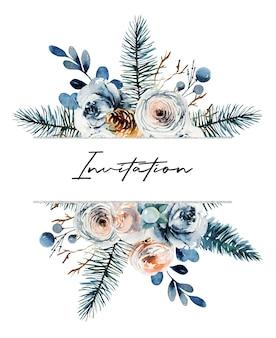 Aquarel bloemen frame van witte en roze rozen, fir takken en andere planten