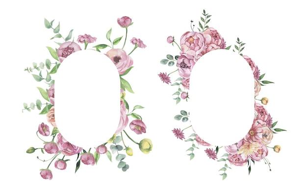 Aquarel bloemen frames.