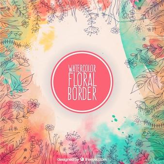 Aquarel bloemen grens in kleurrijke stijl