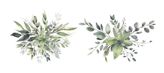 Aquarel bloemen groene blad boeketten.