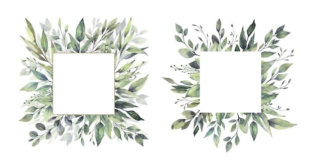 Aquarel bloemen groene blad frames.