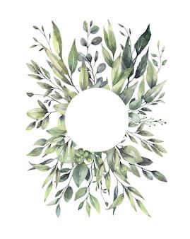 Aquarel bloemen groene bladkransen.