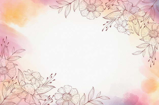 Aquarel bloemen hand getekende achtergrond