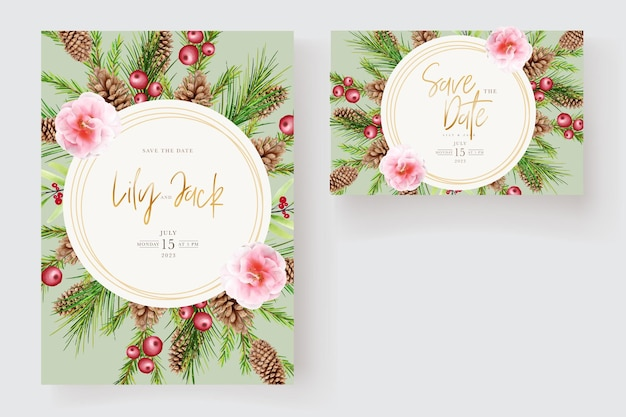 Aquarel bloemen kerst uitnodigingskaart