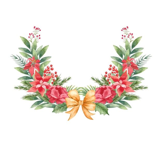 Aquarel bloemen kerstkrans met gouden strik