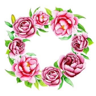 Aquarel bloemen krans frame