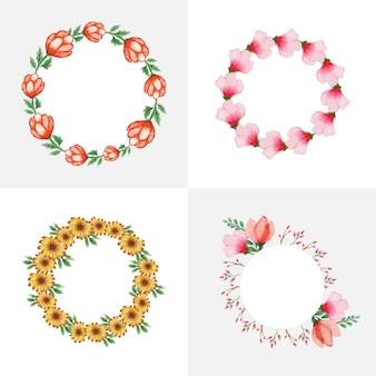 Aquarel bloemen krans set