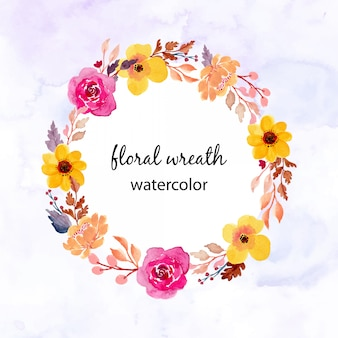 Aquarel bloemen krans