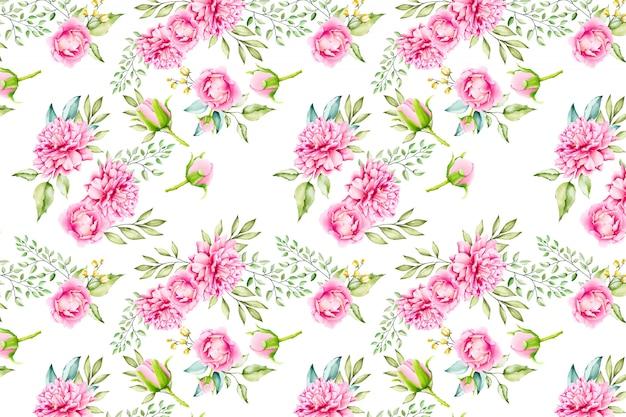 Aquarel bloemen laat naadloze patroon achtergrond