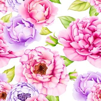 Aquarel bloemen laat naadloze patroon